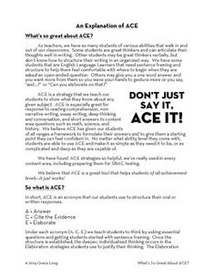 ACE Lesson Four: Writing Paragraphs with ACE to Cite Evidence and ...