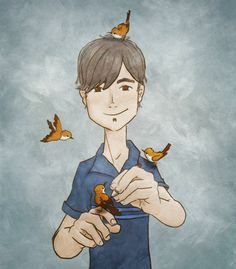 Diozen, portrait, bird, person, illustration