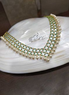 Buy Latest Fashion Jewellery, Temple Jewellery from Siri Collections Gold Jewellery Design, Bead Jewellery, Beaded Jewelry, Temple Jewellery, Handmade Jewellery, Pearl Jewelry, Beaded Necklace, Gold Necklace, Indian Wedding Jewelry