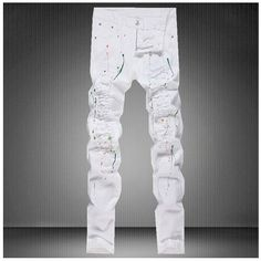 28.56$  Buy here - http://alioz9.shopchina.info/go.php?t=32541618911 - Slim Fit Men Pencil Pants Ripped Design Denim Jeans New Hole Trousers Fashion Printed Biker Skinny Jeans Long Pants Size 30-36  #buychinaproducts
