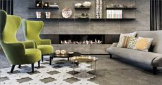 Love the modern wingback's in citrine with the greige color scheme living room. cool. http://decdesignecasa.blogspot.it/