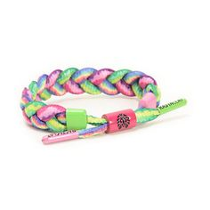 Add groovy style to any outfit with a multicolor tie dye braided shoelace design with assorted colored enamel plated metal cylinder sizing piece and aglets.