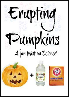 Baking soda + vinegar + a carved pumpkin = erupting pumpkins! This is such a fun twist on the old baking soda and vinegar trick and great for Fall! This would be so fun for the kids at school! Halloween Activities, Autumn Activities, Halloween Crafts, Holiday Crafts, Holiday Fun, Activities For Kids, Halloween Ideas, Halloween Science, Preschool Halloween