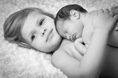 Toddler / newborn sibling photography pose
