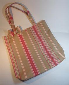 tote bag en toile à rayures beige et rose : Sacs à main par mademoiselle-rose
