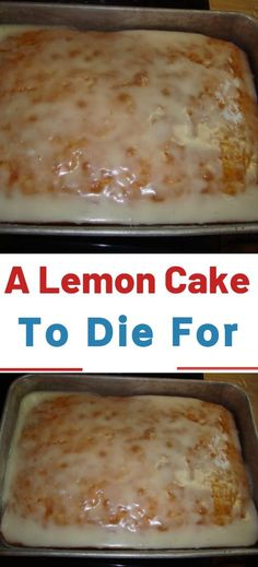 You'll Need (for the cake): 1 box of yellow cake mix. 1 small box of instant lemon pudding mix. ¾ cup of oil. ¾ cup of water. You'll Need (for the glaze): 2 cups of powdered sugar. 2 tbsps of Köstliche Desserts, Lemon Desserts, Lemon Recipes, Sweet Recipes, Baking Recipes, Delicious Desserts, Dessert Recipes, Yummy Food, Lemon Cake Mixes