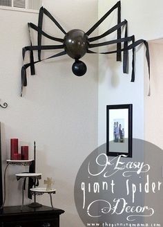 Decorate your home for Halloween with dollar store spiders and cobwebs. Get best DIY Spider Halloween decoration ideas which are easy to do & surely scary. Halloween Spider Decorations, Halloween Ornaments, Halloween Party Decor, Holidays Halloween, Halloween Crafts, Fall Crafts, Decor Crafts, Fall Decorations, Halloween Stuff