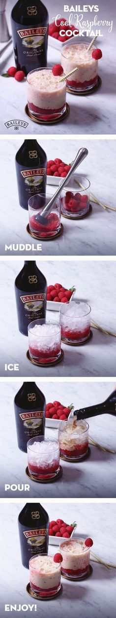 Baileys cool raspberry Three-day weekend coming up? Sweeten up your day off with this simple and easy Cool Raspberry cocktail recipe. Made with crushed ice, raspberries and Baileys, it's the perfect cold, refreshing tasting (Cool Summer Ideas) Fancy Drinks, Easy Cocktails, Cocktail Drinks, Yummy Drinks, Alcoholic Drinks, Beverages, Drinks Alcohol, Baileys Drinks, Winter Cocktails