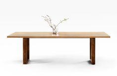 'U' Leg Table - American Oak and Walnut - Lacewood Furniture Table Desk, Dining Bench, Dining Tables, Contemporary Dining Table, American Walnut, Handmade Furniture, Minimal Design, White Oak, Apartment Design