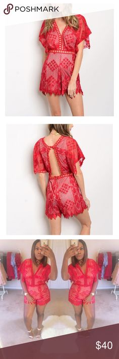 Nicole Lace Romper StylesByB Boutique  Details * Short flutter sleeve plunging neckline fitted waist romper  Content + Care * 100% Nylon * Hand wash cold * Made in China   Also, check out www.stylesbyb.boutique.com or click on link in my About page and receive 15% Off the entire site using the code: NEWSITE Stylesbyb.Boutique Pants Jumpsuits & Rompers