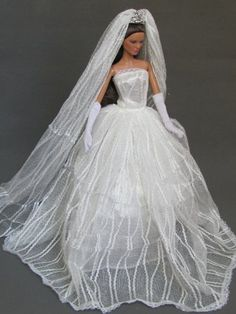 Barbie Doll Wedding Dress with Veil and Gloves Fit 11.5 Inch