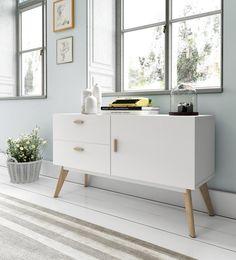 Aparador W-900 de Dugar Home de 160x40x70 cm en acabado blanco satinado.   Más ideas en www.dugarhome.com/muebles