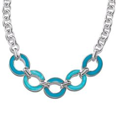 Silvertone necklace with round turquoise colored links at the front of the necklace. #necklace Shop online at https://dtamplain.avonrepresentative.com.