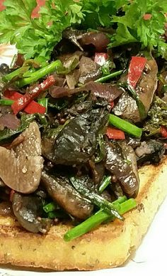 #vegan The old 'mushrooms on toast'. Recipe thanks to www.onegreenplanet.org