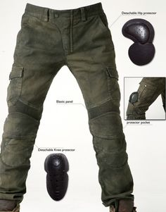 Motorpool Motorcycle Pants with 4 cargo flap pockets, knee, hip, and lower back panels, 97% cotten, 3% spandex
