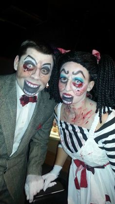 Creepy scary Ventriloquist Dummy, Dolls couple halloween costume contest winner
