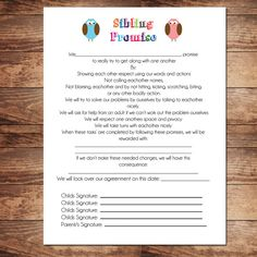 Printable Sibling Contract Behavioral Chart by InkaDinkDesigns