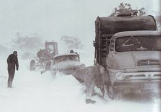 Project name A Vision For Australia, the Snowy Mountains Scheme 1949 - 1999 A convoy struggling up Sawyer's Hill on the Snowy mountain Highway - 1960 Snowy Mountains, Historical Pictures, Conservation, Old Photos, Wales, The Past, Australia, Trucks, History