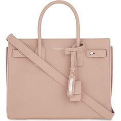 SAINT LAURENT Sac de Jour Souple leather tote (£1,850) ❤ liked on Polyvore featuring bags, handbags, tote bags, genuine leather handbags, leather tote handbags, pink tote, leather tote and pink tote bags
