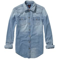 Scotch & Soda Classic Denim Shirt ($58) ❤ liked on Polyvore featuring tops, shirts, blouses, blusas, denim blue, fitted shirt, slim fit long sleeve shirts, denim shirt, long sleeve shirts and long sleeve denim shirt