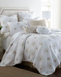Embroidered Dandelion Luxury Quilt Collection, Main View