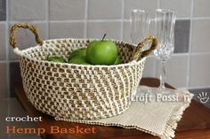 crochet hemp+cotton basket by Craft Passion, free pattern.