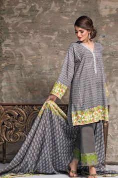 3fe90683ce Grey Color 3 Piece Unstitched Pakistani Designer Karandi Pret Wear  Available For Shopping Online On Best Price At Sale By Gul Ahmed Winter  Collection 2017.