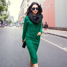 spring and autumn female round neck floor-length cashmere sweater one-piece dress casual solid sheath women dress