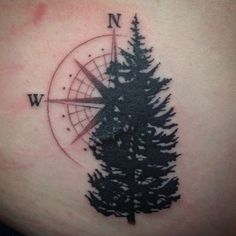 Compass & tree tattoo-- instead of the tree, a light house