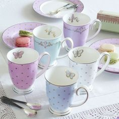 Bombay Duck 'Miss Darcy' mug in mint green. Painted furniture, silk flowers, home decor and tea sets at Heavenly Homes and Gardens in Bristol Coffee Set, Coffee Cups, Tea Cup Set, Tea Sets, Teapots And Cups, Teacups, Cute Mugs, Chocolate Pots, Vintage Tea