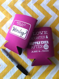 Hello Nametag fill in the blank Custom Wedding can by RookDesignCo
