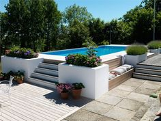 Garden with swimming pool Above Ground Pool Landscaping, Backyard Pool Landscaping, Backyard Pool Designs, Above Ground Swimming Pools, Small Backyard Pools, Swimming Pools Backyard, Swimming Pool Designs, In Ground Pools, Raised Pools