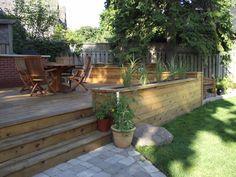 Patio deck planters tuin New ideas Deck Planter Boxes, Deck Planters, Planter Ideas, Patio Deck Designs, Patio Design, Backyard Pergola, Backyard Landscaping, Pergola Kits, Pergola Ideas