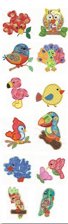 Birds of a Feather Applique Design Set is available for Instant Download at designsbyjuju.com