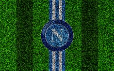 Download wallpapers Napoli FC, 4k, logo, football lawn, Italian football club, white blue lines, emblem, grass texture, Serie A, Naples, Italy, football, SSC Napoli
