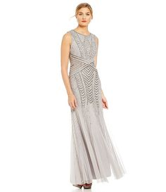 Adrianna Papell Petite Beaded Embroidered Gown