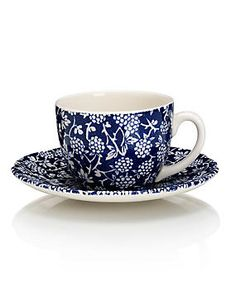China Blue Blackberry Cup & Saucer Set