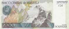 Pieza bbcv2000bs-ba01-a8,e (Reverso). Billete del Banco Central de Venezuela. 2000 Bolívares. Diseño B, Tipo A. Fecha Octubre 29 1998. Serie A8. Pieza con error