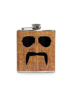 Yes, Officer? Mustache and Aviators on Burlap Flask by Liquid Courage