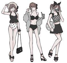 Fashion Design Drawings, Fashion Sketches, Inuyasha Fan Art, High School Fashion, Clothing Sketches, Anime Dress, Beautiful Anime Girl, Korean Street Fashion, Drawing Clothes