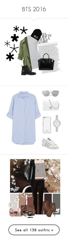 """""""BTS 2016"""" by musicpandas ❤ liked on Polyvore featuring Boohoo, American Eagle Outfitters, Giuseppe Zanotti, Givenchy, M.i.h Jeans, adidas, Kate Spade, white, Blue and superstar"""