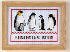 These free cross stitch charts for Arctic penguins make great cards and pictures.