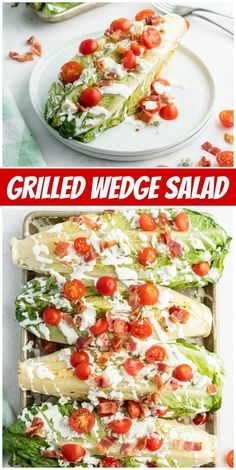 Grilled Wedge Salad recipe from RecipeGirl.com #grilled #wedge #romaine #salad #blt #recipe #RecipeGirl Wedge Salad Recipes, Summer Salad Recipes, Summer Salads, Vegan Kitchen, Kitchen Recipes, Fun Easy Recipes, Healthy Dinner Recipes, Grilling Recipes, Cooking Recipes