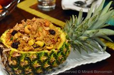 pineapple fried rice in pineapple bowl