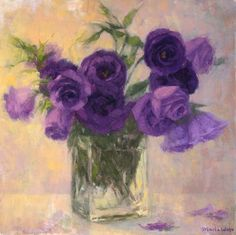 floral painting, original oil painting still life with purple flowers lisianthus Maria waye