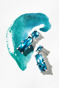 Châtelaine earrings with Hampton blue topaz and diamonds.