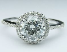 Engagement Ring - Round Diamond Halo Engagement ring filigree Gallery in 14K White Gold, 0.38ctw. - ES838WG