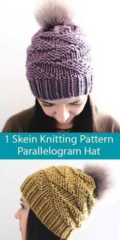 Knitting Pattern for One Skein Parallelogram Hat in Super Bulky Yarn - Slouchy beanie with a fun geometric pattern in knit and purl stitches. Quick knit in one skein - 73 - 87 yards - 80 m) - of super bulky yarn. Designed by Georgia Farrell. Beanie Knitting Patterns Free, Beginner Knitting Patterns, Knitting Machine Patterns, Knitting Yarn, Knit Headband Pattern, Knitted Headband, Ponytail Hat Knitting Pattern, Knit Beanie Pattern, Knitted Hats Kids