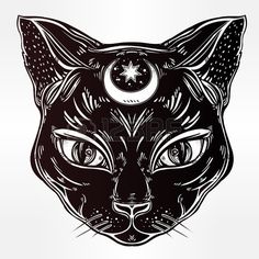 Black cat head portrait with moon Ideal Halloween background tattoo art Egyptian spirituality boho d Stock Vector