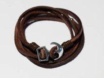 Wickelarmband aus Leder mit Anker - maritim